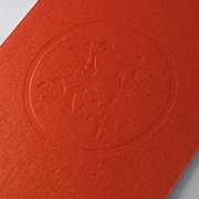Closeup of embossing effect on 550gsm White Crown